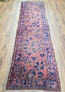 Antique Turkish Sparta Runner Rug Hand-knotted Red And Blue Wool 2and0396 X 9and039 3
