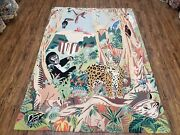 Vintage Couristan Rug Hand-hooked Safari Animals Gorilla Tiger Wool 5and0395 X 7and039 8