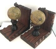 Pair Vintage Spinning Old Map Globe Book Ends