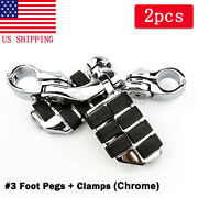 1-1/4 1.25 Long Angled Adjustable Highway Foot Pegs Peg Mount Kit For Harley