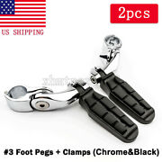 1-1/4 32mm Black Long Angled Highway Engine Guard Foot Pegs For Harley-davidson