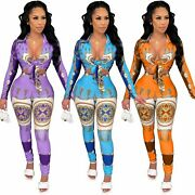 Fashion Sexy Women's Print Long Sleeves Lace Up Tops Bodycon Jumpsuits Club 2pcs