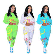 Fashion New Women Print Long Sleeves Hooded Casual Sports Outfits Jumpsuits 2pcs