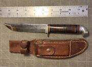 Vintage West-cut Hunting Knife W/ Sheathmade In Boulder Colo.stacked Leather