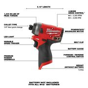 Milwaukee 2553-20 12-volt M12 Fuel 1/4 Hex Impact Driver Tool Only New Bulk