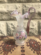 Fenton Art Glass Pink Opalescent Handled Vase/pitcher Hand Painted Signed 1996