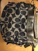 Coach Carly Denim And Leather Handbag Signature Excellent Condition