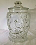 Vintage Walt Disney Productions Large Embossed Mickey Mouse Clear Cookie Jar