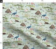African Lake Birds Hippo Africa Crane Lotus Spoonflower Fabric By The Yard