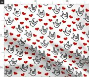 Love Yous Hearts Valentine You Sign Language Spoonflower Fabric By The Yard