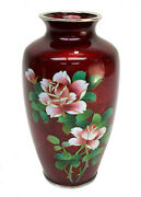 Japanese Red Cloisonne Enamel Ginbari Foil Silver Vase Pink And White Roses
