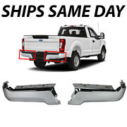 New Chrome Pair Of Rear Bumper Face Bars For 2017-2021 Ford F250 F350 Super Duty