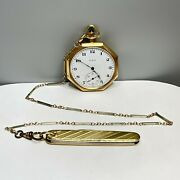 Antique Elgin 14k Yellow Gold 17 Jewels Pocket Watch And 14k Chain W/ Pocket Knife