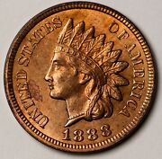 1888 1c Key Date Indian Head One Cent Us Coin Penny. Ungraded, Unc