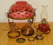 Large Antique Victorian Hanging Cranberry Glass Parlor Pull Chain Oil Lamp