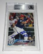 Beckett Authentic 2018 Topps Update Juan Soto Signed Rc Rookie Card Us300 Auto