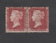 Gb Qv Sg43/44 1d Red Mounted Mint Pair With Gum Plate 204 Hb Hc