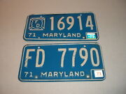 Vintage Maryland Fire Department 1971 License Plates Lot Of 2