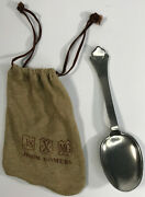 Rat Tail Colonial Spoon And Bag John Somers Pewter Handmade Brazil Marked Js X Mg