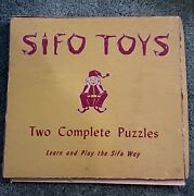 2 - Vintage Sifo Toys Childrens Wooden Board Puzzle Horse Turkey 6 Piece Each