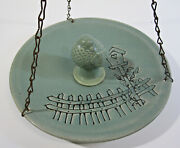 Hanging Pottery Stoneware Large Teal Bird Feeder 11.5 With Bird Figure Vintage