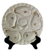Antique Weimar Germany Limoges Gilt Porcelain Oyster Plate 8 1/4 C1800andrsquos Rare