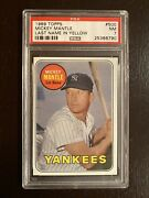 1969 Topps 500 Mickey Mantle Last Name In Yellow Psa 7