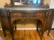 Beautiful Antique Vanity/dressing Table With Mirror And Glass Top.andnbsp