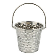 1pc Hammering Texture Stainless Steel Ice Bucket Champagne Bucket Silver