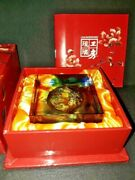 Liuligongfang Art Glass Signed And Dated Koi Paperweight - Originalbox And Booklet