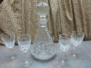 Waterford Crystal, Lismore Pattern, Decanter And 4 Wine Glasses