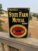 Original Vintage State Farm Mutal Agent Sign Double Sided Painted G6