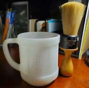 Federal White Milk Glass Cup Textured Sides And Large Rubberset Shaving Brush 49-4