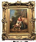 Antique Oil On Canvas Painting Of Governess And Child. Signed J. Sigmund