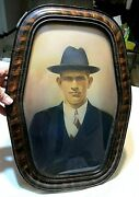 Antique Bubble Glass Wall Photo Man In Fedora Hat Wood Frame