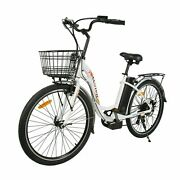 2636v 350w City Electric Bicycle E-bike White With Basket 7 Speed Pedal Assist