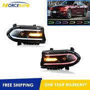 Set2 Led Projector Headlights Rgb Color Change Lamps Fits For 2015-20 Dodge