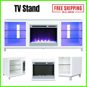 Fireplace Tv Stand For Tvs Up To 70 Inch 6 Open Shelves For Audio Components