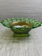Antique Northwood Wild Rose Shell Green And Marigold Carnival Open Edge Bowl