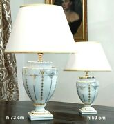 Table Lamp In Majolica Italian Decorated With Leaf D'oro Cert 19 11/16in