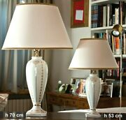 Table Lamp In Majolica Italian Decorated With Leaf D'oro Cert 27 5/8in