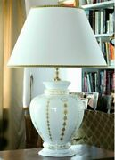 Table Lamp In Majolica Italian Decorated With Leaf D'oro Cert 24, K
