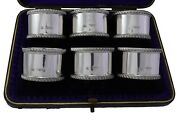 Antique Sterling Silver - Set Of 6 Wakely And Wheeler Napkin Rings - Boxed - 1901