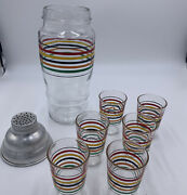 Vintage Striped Martini Shaker And 6 Shot Glasses Art Deco Style