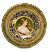 Royal Vienna Austria Hand Painted Porcelain Plate In Period Frame Signed C1910