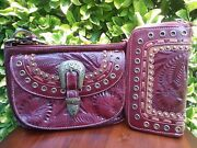 Vintage American West Red Leather Purse And Matching Wallet