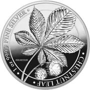 2021 1 Oz Proof Silver 5 Mark Germany Chestnut Leaf Mythical Forest Coin.