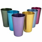 Anodized Aluminum Drinking Tumblers 16 Oz Vintage Retro Glasses Water Cup Set 6