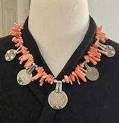 Moroccan Vintage Old Coins And Rare Orange Branch Coral Handmade Berber Necklace.