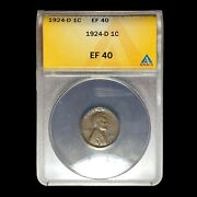 1924 D Anacs Xf-40 Lincoln Cent Wheat Penny W9059
